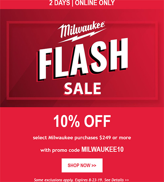 Milwaukee Tool Flash Sale 08232019