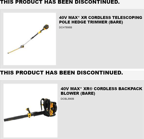 More Dewalt 40V Max Cordless Outdoor Power Tools Discontinued