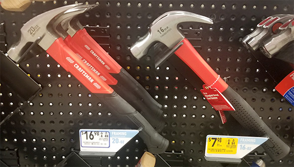 Craftsman and Non-Craftsman Red and Black Hammers at Lowes