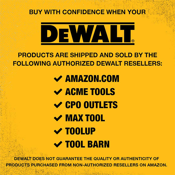 Dewalt Reseller Confidence Notice on Amazon