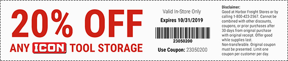 Harbor Freight Icon Tool Storage Coupon October 2019