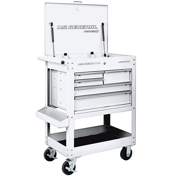 Harbor Freight White 5-Drawer US General Tool Cart