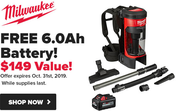 Milwaukee Backpack Vac Promo Fall 2019