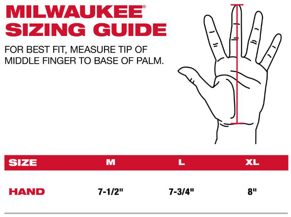 Milwaukee Glove Sizing Guide