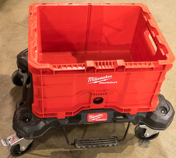Milwaukee Packout Tool Crate on Floor Dolly