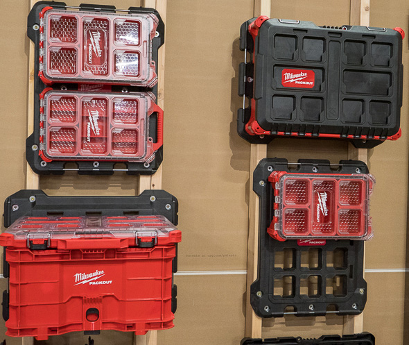 Milwaukee Packout Tool Crate on Wall Mount with Organizer on Top