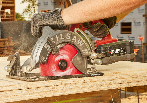 SkilSaw Cordless Worm Drive Circular Saw Cutting Stacked Sheet Goods