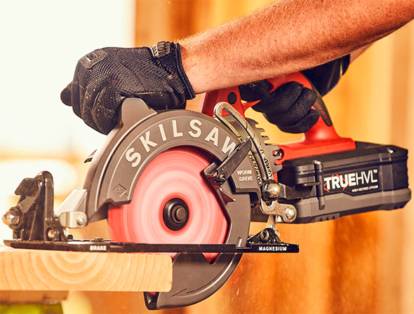 SkilSaw Cordless Worm Drive Circular Saw Cutting Wood Board