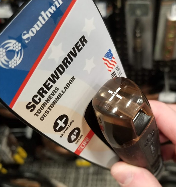 Southwire USA-Made Phillips Screwdriver Handle Marking
