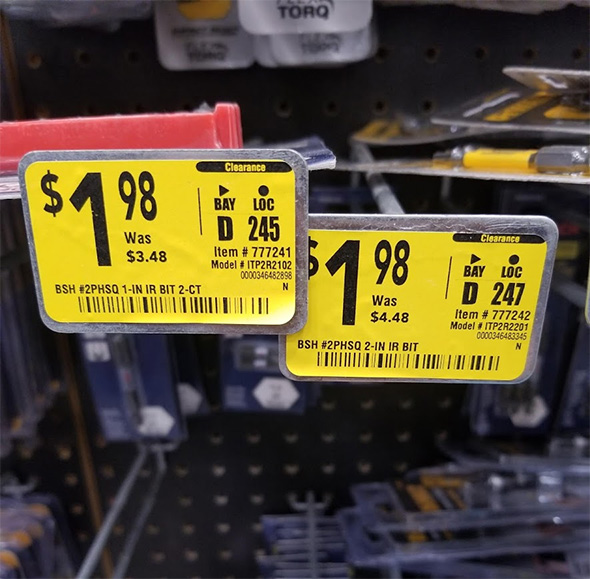 Bosch Screwdriver Bits on Clearance at Lowes October 2019