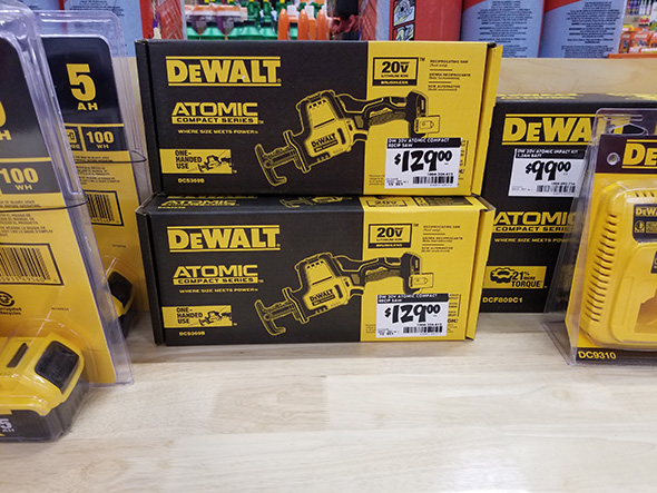 Dewalt Atomic DCS369B One-Handed Cordless Reciprocating Saw at Home Depot Display