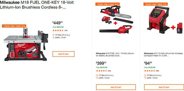 Milwaukee Cordless Power Tool Deals of the Day 10-7-19 Page 1