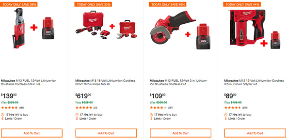 Milwaukee Cordless Power Tool Deals of the Day 10-7-19 Page 2