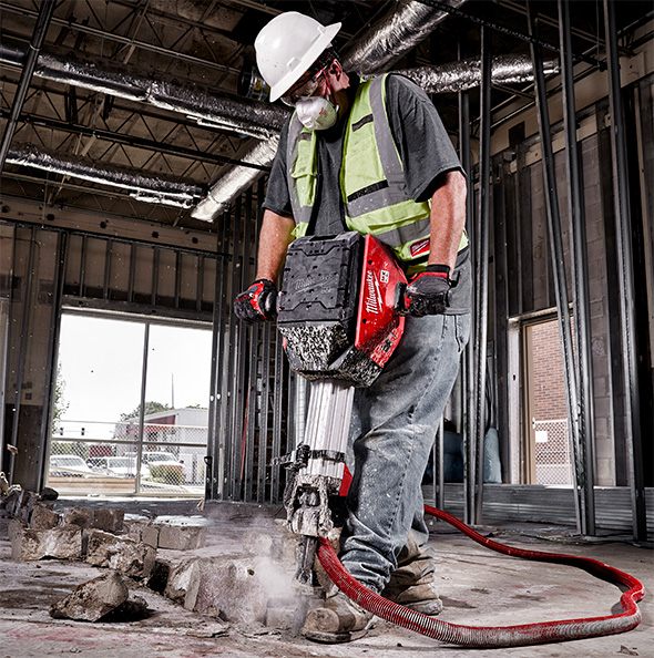 Milwaukee MX Fuel Cordless Breaker Hammer Demoing Concrete Slab