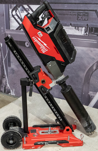 Milwaukee MX Fuel Cordless Core Drill on Stand