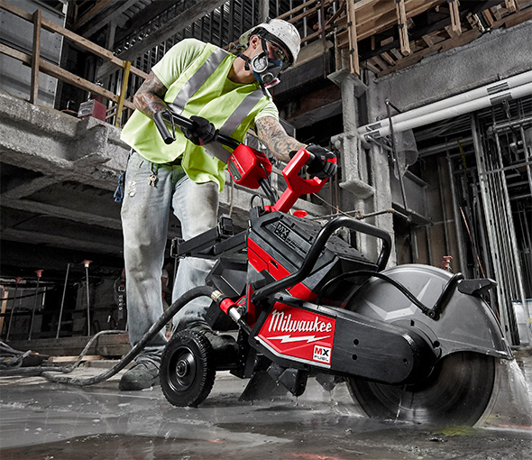 Milwaukee MX Fuel Cordless Cut-Off Saw Guided Cutting Concrete Slab