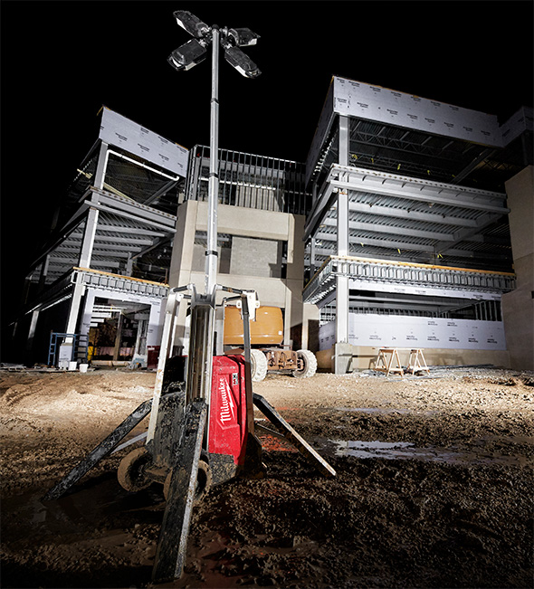 Milwaukee MX Fuel Cordless LED Worklight Illuminating Jobsite