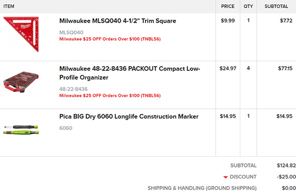 Milwaukee Order from Tool Nut 10-15-19