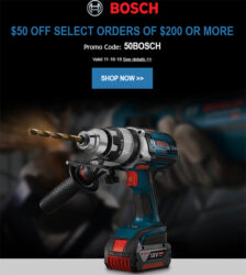 Bosch 50 off 200 Deal of the Day 11-18-19