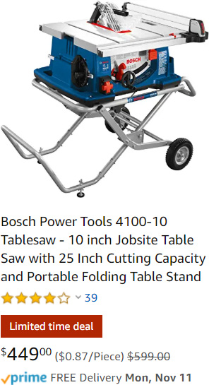 Bosch Table Saw Deal at Amazon Holiday 2019