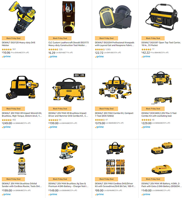 Dewalt Cordless Power Tools Amazon Black Friday 2019 Deals of the Day Listing