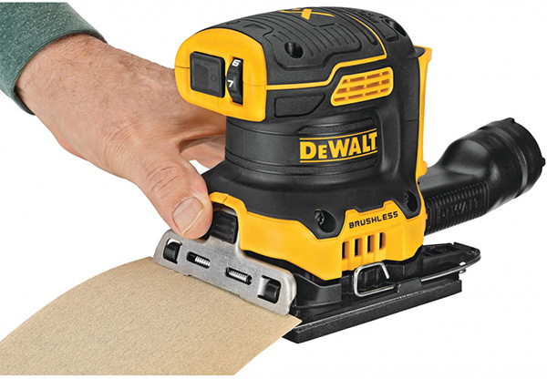 Dewalt DCW200 20V Max Cordless Quarter Sheet Sander Front Paper Clamp and Controls