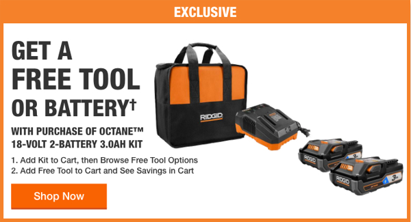 Home Depot Free Power Tools 2019 Promotion Ridgid One Free Tool