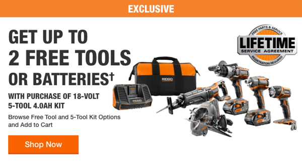 Home Depot Free Power Tools 2019 Promotion Ridgid Two Free Tools