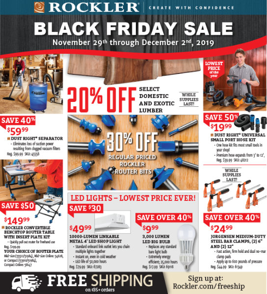 Rockler Black Friday 2019 Page 1