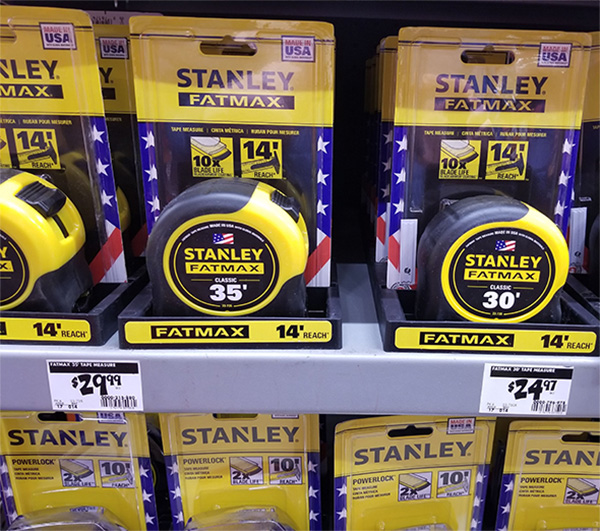 Stanley Tape Measure Display at Home Depot November 2019
