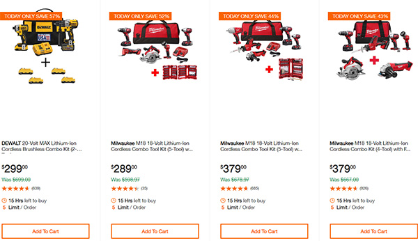 Home Depot Cordless Power Tool Deals of the Day 12-16-19 Page 1