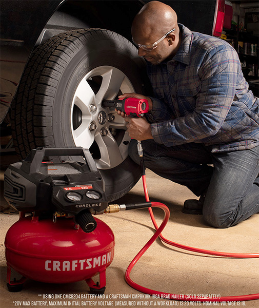 Craftsman CMCC2520M1 Cordless Air Compressor Used with Impact Wrench