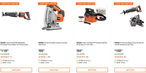 Home Depot Ridgid Ryobi Makita Cordless Power Tool Deals 2-14-20 Page 3