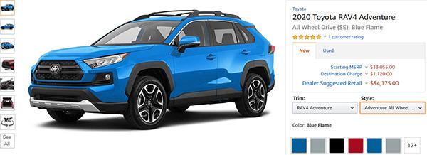 Amazon Toyota Rav4 SUV Listing