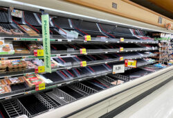 Empty Supermarket Meat Section Due to Coronavirus Panic Buying 3-12-20