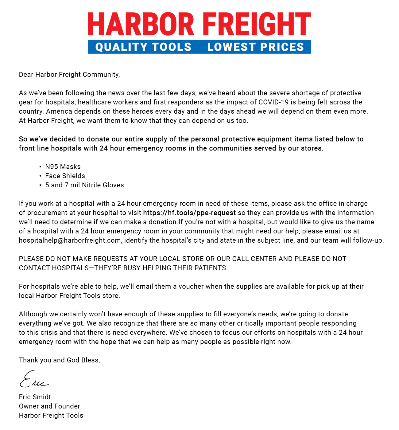 Harbor Freight COVID-19 Newsletter PPE Donation Message 3-23-20