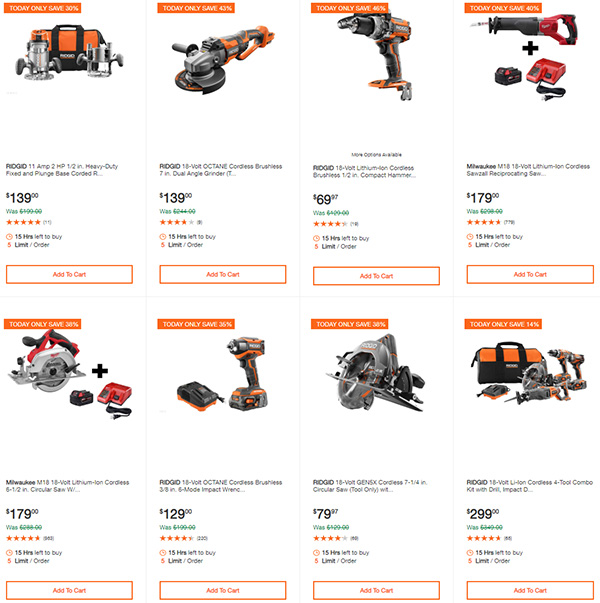 Home Depot Milwaukee Dewalt Ridgid Husky Tool Deals of the Day 3-22-20 Page 2
