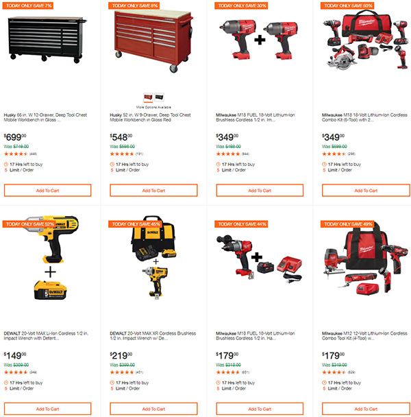 Home Depot Milwaukee Dewalt Ridgid Husky Tool Deals of the Day 3-22-20