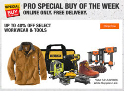 Home Depot Pro Tool Deals Week of 3-3-2020