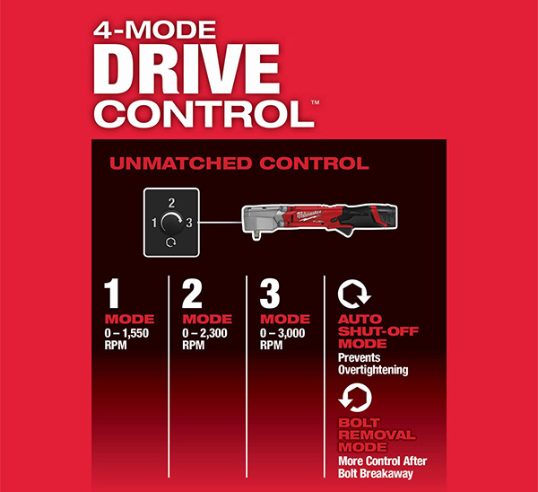 Milwaukee M12 Fuel Right Angle Impact Wrench Drive Control Modes