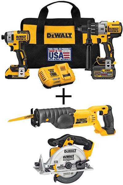 Home Depot Dewalt Milwaukee Tool Deals of the Day 4-23-20 Dewalt FlexVolt Drill and Saws Combo Kit