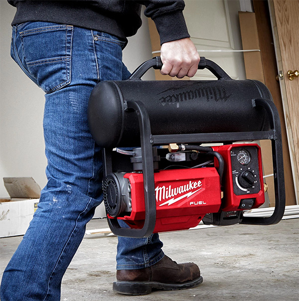 Milwaukee 2840-20 Cordless Air Compressor Carried by Handle