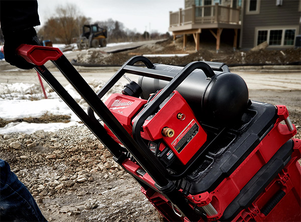 Milwaukee 2840-20 Cordless Air Compressor on Packout Tool Box Stack