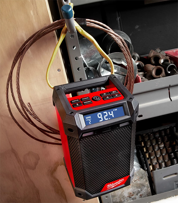 Milwaukee 2951-20 M12 Radio and Charger Hanging on Loop