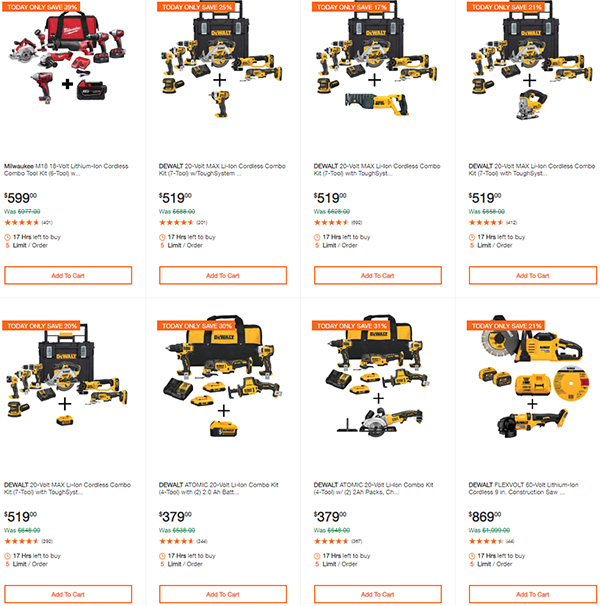 Home Depot Dewalt and Milwaukee Cordless Power Tool Deals of the Day 6-15-20 Page 2
