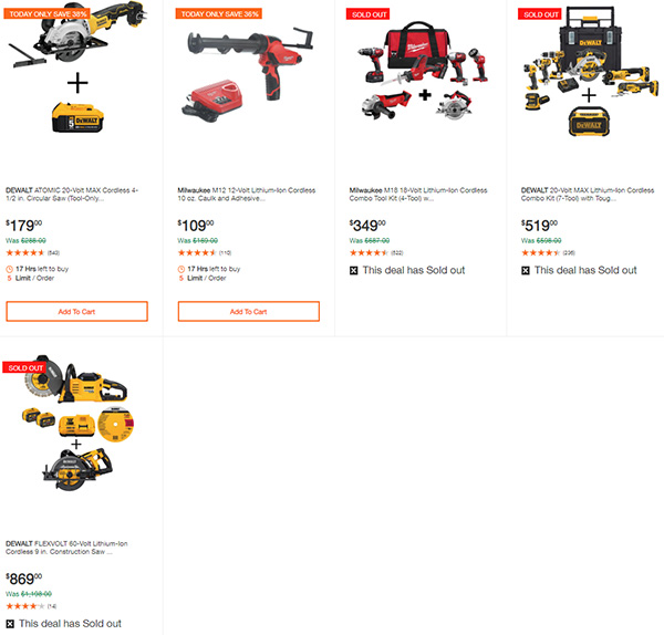 Home Depot Dewalt and Milwaukee Cordless Power Tool Deals of the Day 6-15-20 Page 3