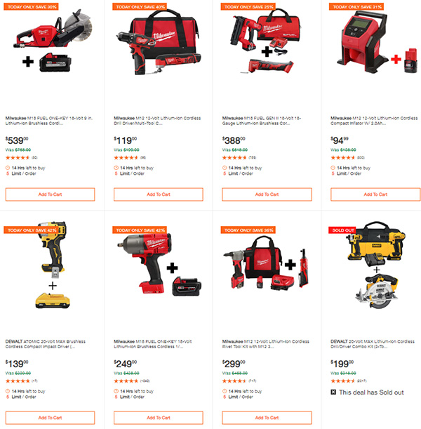 Home Depot Milwaukee Dewalt Tool Deals of the Day 6-8-20 Page 2