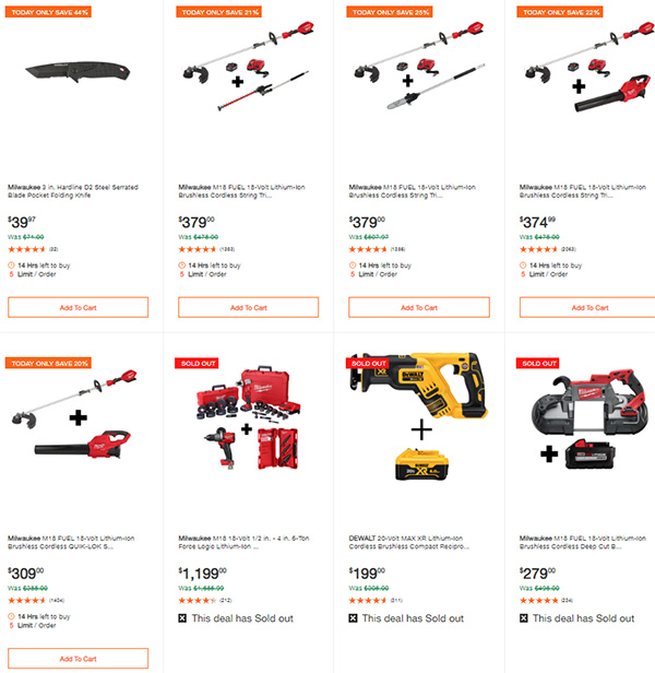 Home Depot Milwaukee Dewalt Tool Deals of the Day 6-8-20 Page 8