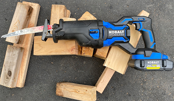 Kobalt 24V Max XTR Cordless Reciprocating Saw with 2x4 Cuttings