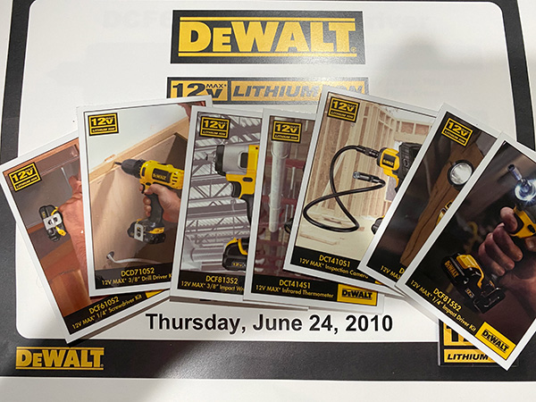 Dewalt 12V Max Cordless Power Tools Trading Cards